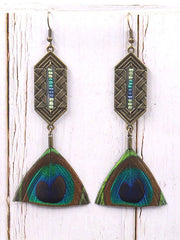 Dangling Druzy Peacock Feather Earrings