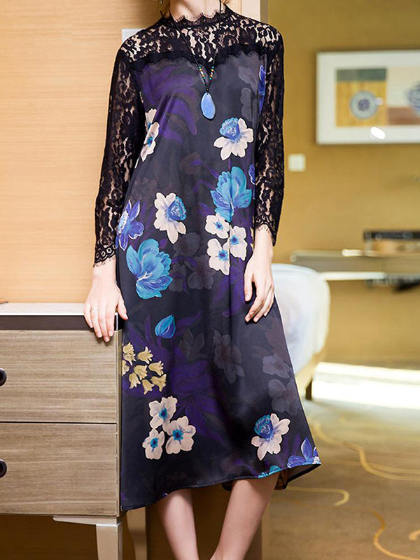 Mock Lace Neck Floral Print Shift Dress