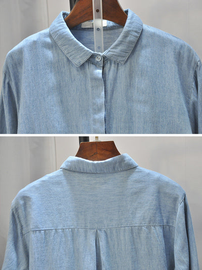 Bettye Polo Collar Fishbone Embroidered Denim Cowboy Shirt