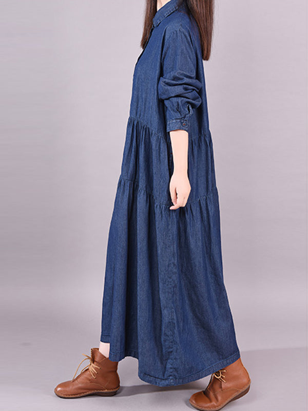Abbigail Polo Neck Pure Color Denim Pleated Shirt Dress