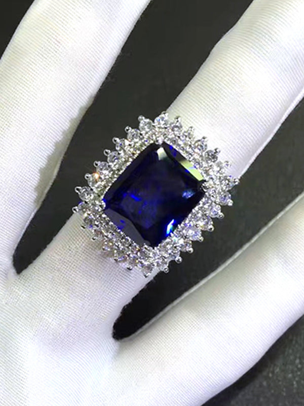 Iris Sapphire Square Ring in Duo Row of Diamonds