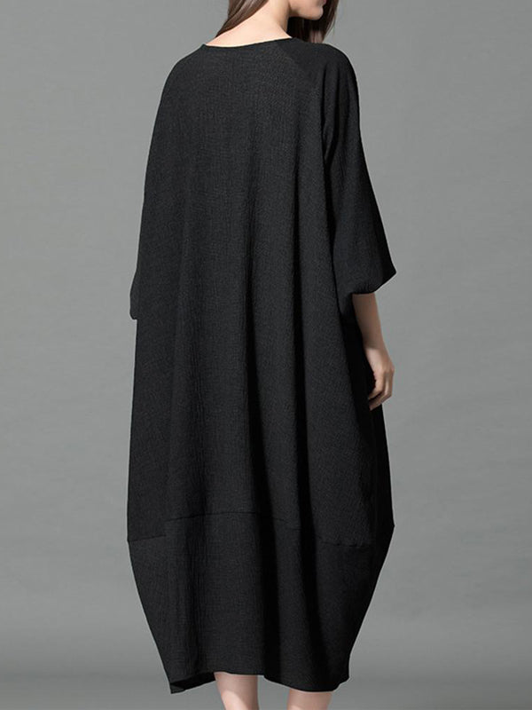 Terry Rope Neck Tapered Sleeve Lantern Midi Dress