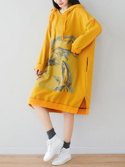 Loose Ethnic Floral Hooded Sweatshirt Dress