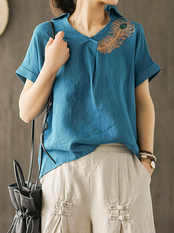 Ethnic Feather Critter Ramie Tunic T-Shirt Top