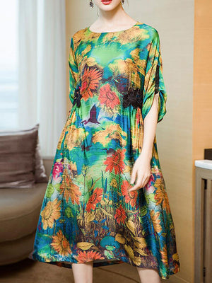 Watercolor Floral Smock Dress