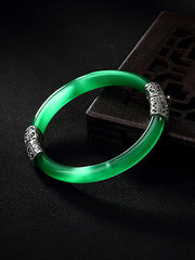 Willie Cat's Eye Jade Bangle with Silver Connectors