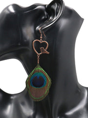 Drop In Anytime Peacock Feather Earrings