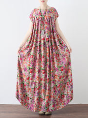 Bohoo High Waist Vintage Linen Cotton Maxi Dress