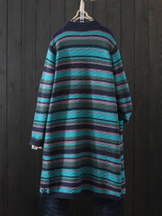 Color Block Striped Long Cardigan Sweater