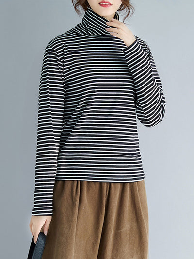 High Collar Bottoming Knitwear with Alternating Stripes
