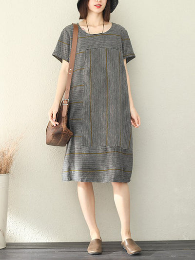 Rust Andes Stripe Linen Midi Dress