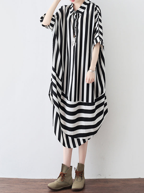 Stipes Zone Plus Size Round Hem Midi Dress