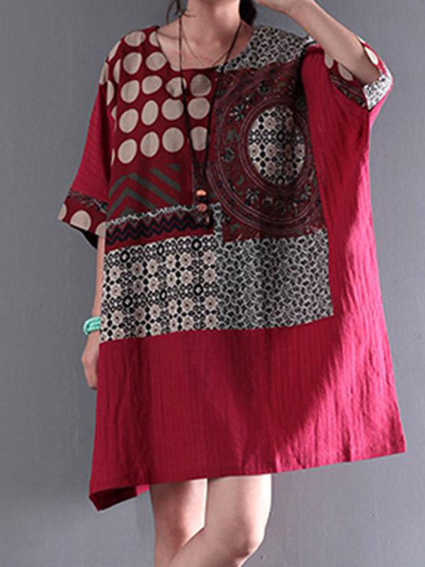 Deep Pink Abstract Tunic Top