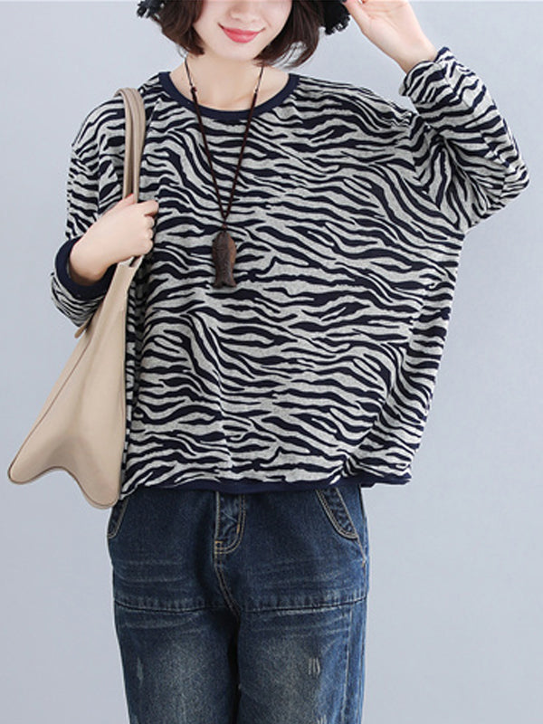 Lucy Knit Top with Print Stripes