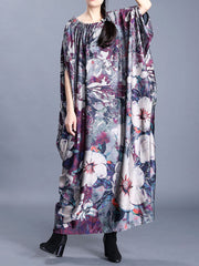The Kingdom of Floral Print Bat Sleeves Maxi Dress