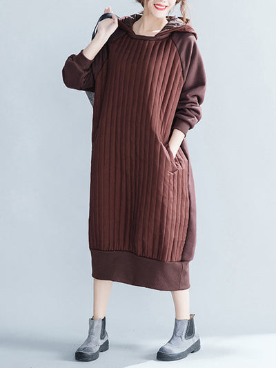 Tune In Brown Cotton Hooded Dress