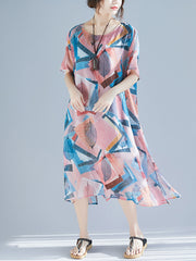 A Treasure of Fashion Leaves & Floral Print Smock Dress