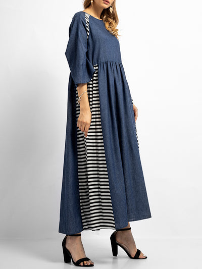Sabrina Round Neck Stripes Solid Color A-Line Dress