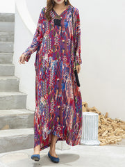 Be With You Ever Abstract Print Cotton Silk Maxi Dress