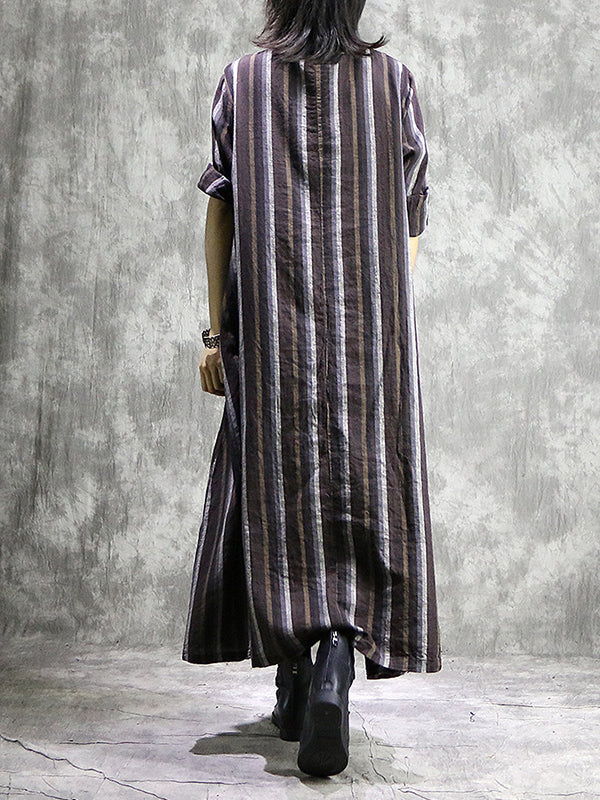 Aimee Round Neck Linen Stripe Midi Dress