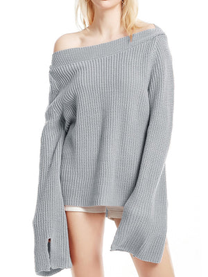 Horizontal Neck Sweatshirt With Solid Color