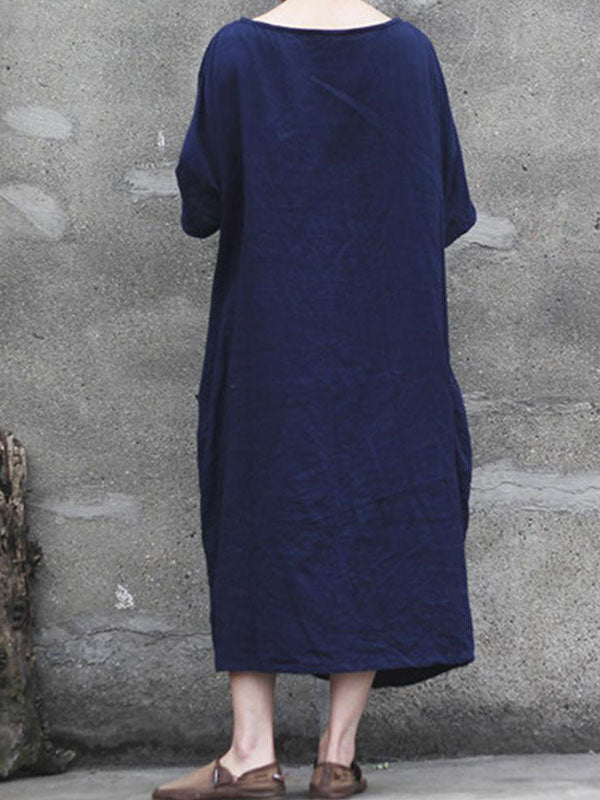 V-Neck Crepe Texture Shift Dress