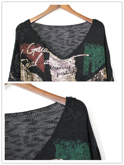 Julice V-Neck Punk Sweater Top with Graffiti