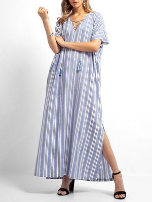 Ada V-Neck Drawstring Abaya A-Line Dress with Stripes Prints