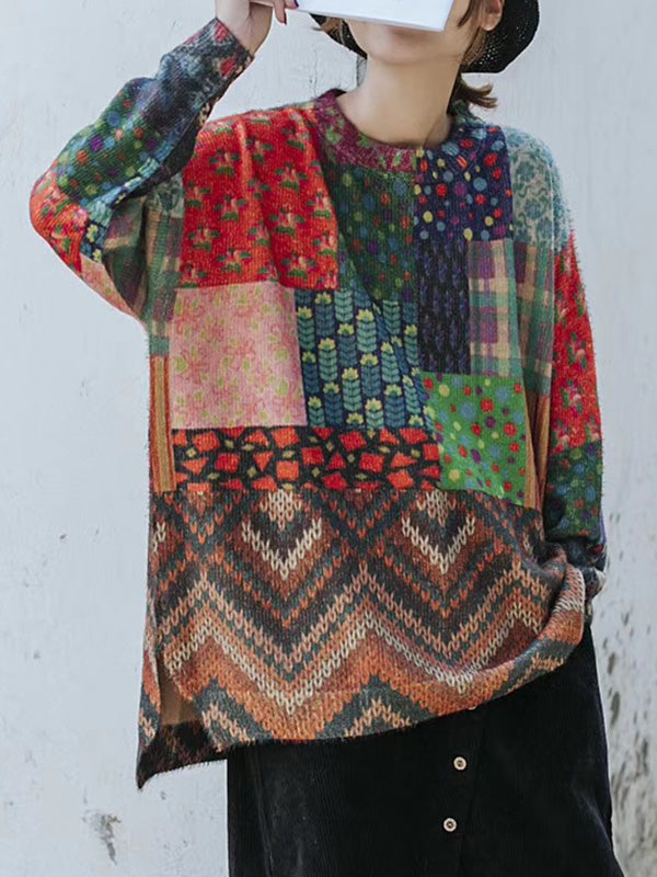 Cotton Pullover Sweater with Printed