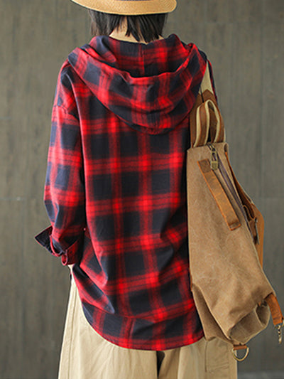 Letha Hooded Vintage Contrasting Plaid Print Single-breasted Baggy Cotton Shirt