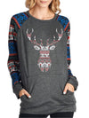 Basic Sweater Pullover with Elk Prints