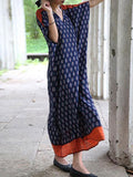 Border Print Blue Kaftan Dress