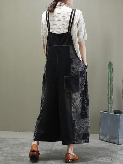 Life Is Art Cotton Wide-Leg Overalls Dungarees