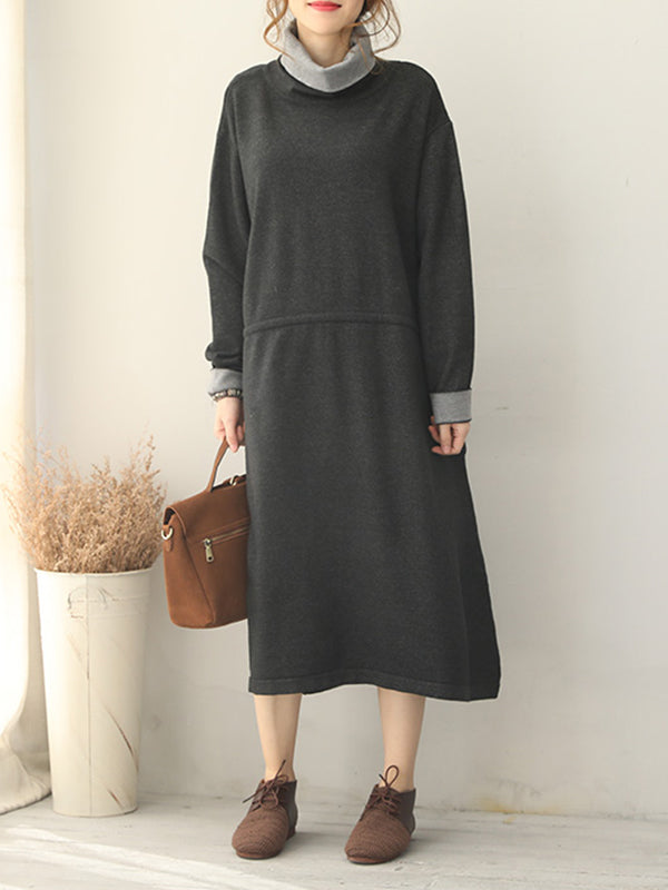 Hilda High Neck Sweater Midi Dress with Contrast Colors
