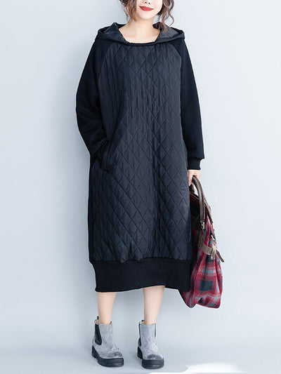 Slide Away Black Sweatshirt Hooded Dress