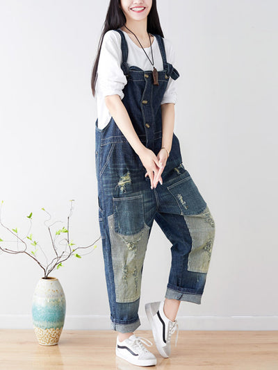 Hilary Contrast Color Abrasion Harem Overall Dungarees