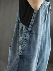 State of The Heart Denim Ripped Cropped Overall Dungarees