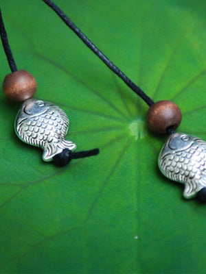 Ancient Fish Silver Pendant Necklace