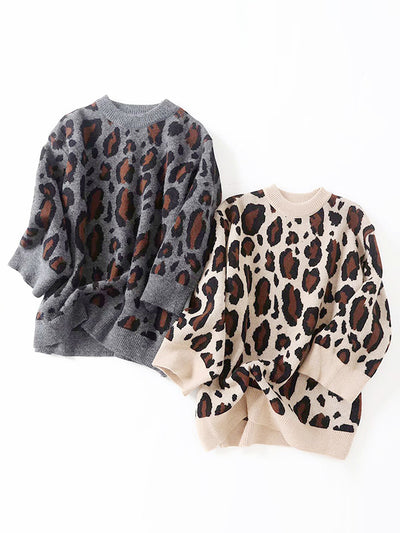 Loose Leopard Print Pullover Sweater Top