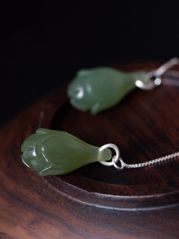 Renee Vintage Orchid Jade Ear Pendants with Silver String