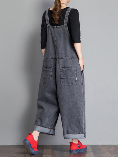 Jackie Thicken Denim Wide Leg Overall Dungarees with Vintage Color