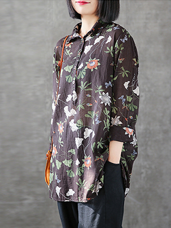 Rosalind Contrasting Water Lily Print Lapel Tops