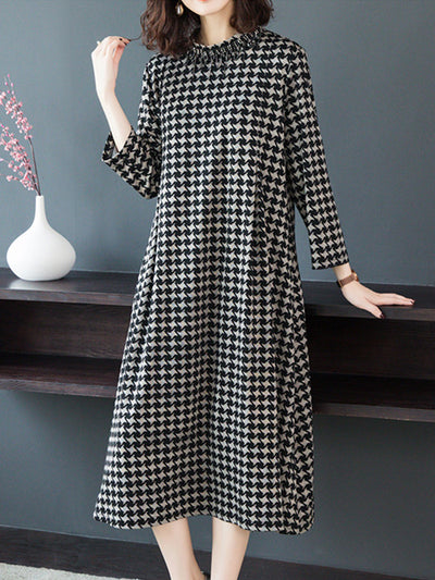 Morning Sunshine Tartan High-Neck A-Line Dress