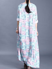 The Tossed Waves Checkered Print Maxi Dress
