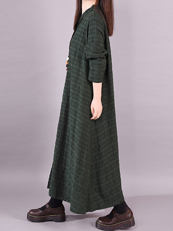 Abegayle Round Neck Patched Dot Print Buttoned Shirt Dress