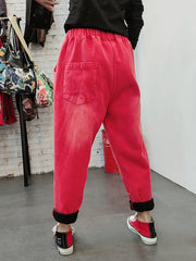 Heartbeat Embroidery Cotton Trouser Pants