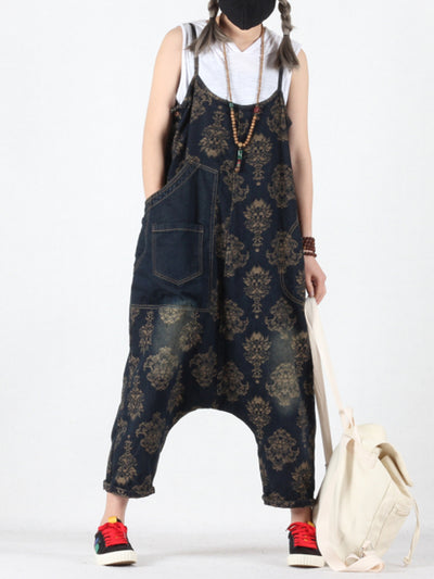 Viviana Vintage Floral Prints Overall Dungarees with Pockets