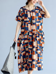 When I'm With You Lattice Print Smock Dress