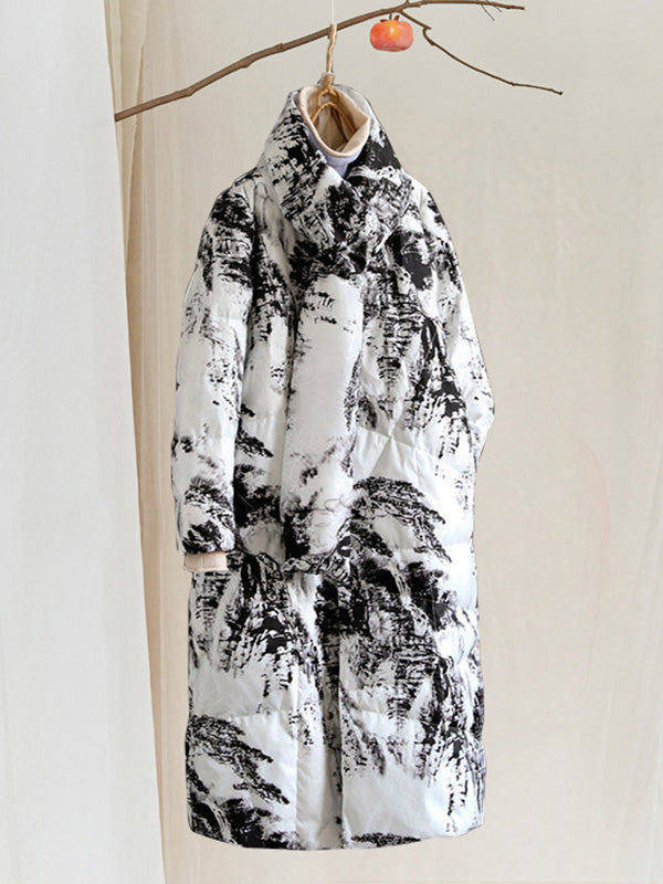Kim Round Neck Thicken Quilted Down Jacket with Landscape Prints