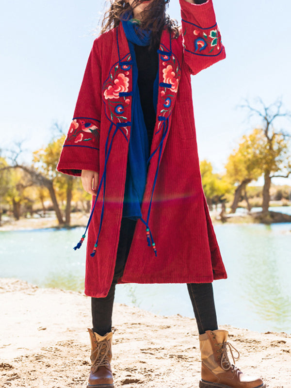 Michele Single Breasted Ethnic Embroidery Cotton Overcoat with Trumpet Sleeves